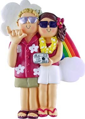 Blonde & Brunette Vacation Couple Christmas Ornament