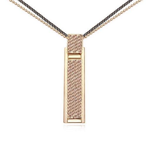 "Fashion Jewelry Diamonds Strap Style Sterling Swarovski Crystal Long Sweater Chain Pendant Necklace, 30"", Pink"