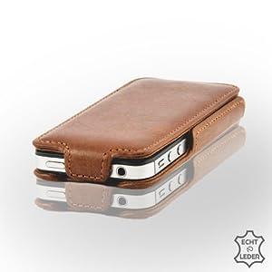 Exklusive Ledertasche für iPhone 4 & 4S Schutzhülle aus brasilianischem Echtleder von MACOON, Farbe:karamell braun