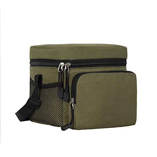 ORICSSON Cooler Bag Tote Insulated Lunch Box 9-Can Adjustable Strap Freezable Bag with Zip Closure Green (Soft Sided Insulated Lunch Box compare prices)