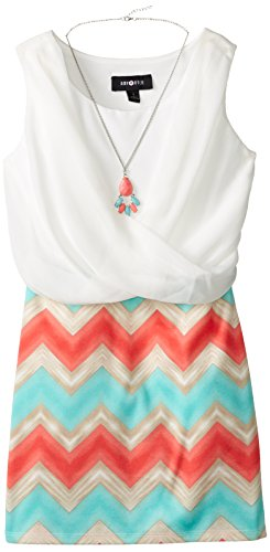 Amy Byer Big Girls' Crossfront Dress  Necklace,