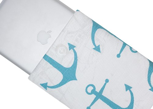 >>  Kuzy - 15-inch TEAL Anchor Cotton Sleeve Handmade Cover for MacBook Pro 15.4
