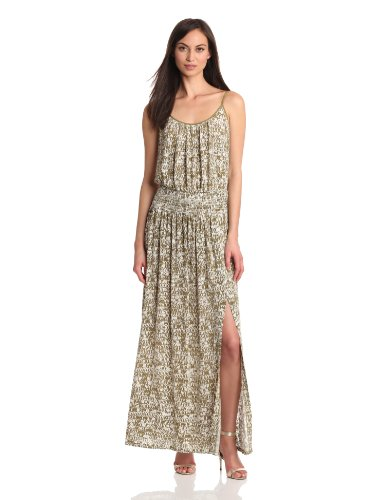 Tracy Reese Women's Printed Jersey High Slit Maxi Slip Dress, Tobacco, Large