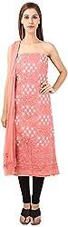DESINER CLOTHLINE Women's Chanderi Unstitched Dress Material (Cl-7, Brown)