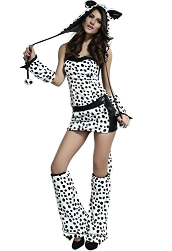 DarlingLove Women's Divine Dalmation Costume White and Black