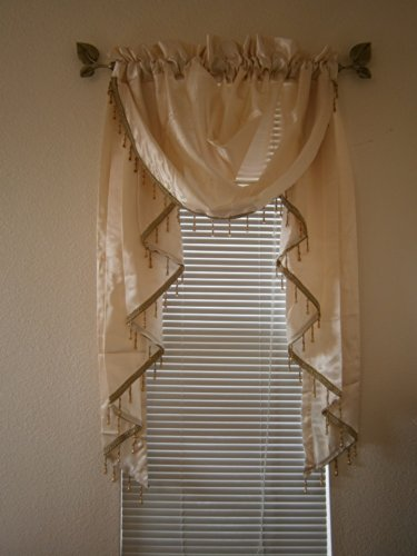 "Octorose ® Royalty Custom Waterfall Window Valance Swags & Tails (Cream, Small Window Valance(66X47""Wxh)) front-12694"