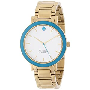 kate spade new york Women's 1YRU0254 Turquoise Bezel Gold Gramercy Watch