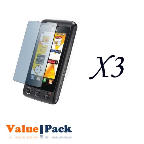 3 x LG KP500 Cookie Screen Protector Lcd Shield with Cleaning Cloth + FREE SF Planet Neckstrap !