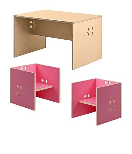Kindersitzgruppe – Kindermöbel – 2 Kinderstühle/Hocker + 1 Kindertisch/Bank. Tisch transparent, Farbe Stühle frei wählbar. (Stühle/Hocker pink, Tisch/Bank transparent) günstig bestellen
