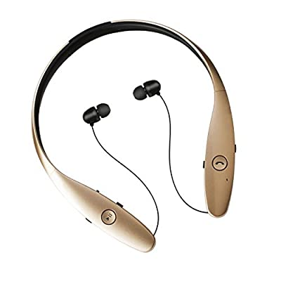 Top-grade Wireless Bluetooth Sport Neckband High Fidelity Stereo Headset w/ Retractable Earbuds