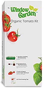 Window Garden Organic Tomato Grow Kit Is an Easy to Grow Vegetable Seed Kit, Includes a 10 Cavity Mini Greenhouse, Spongease Seed Starters and Non GMO Organic Seeds.
