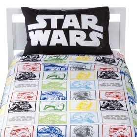 Star Wars Classic 4 Piece Twin Bed Set - Reversible Comforter and 3 Piece Cotton Rich Sheet Set spongebob squarepants scribble sponge reversible twin full comforter and full sheet set