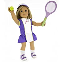Tennis Outfit For American Girl Dolls Dress Along Dolly 6 Pc Dress Hat Racket Ball Socks And Shoes