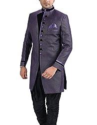 PARIWAR Men's Linen Sherwani with Art Silk Breeches(Magenta_40)