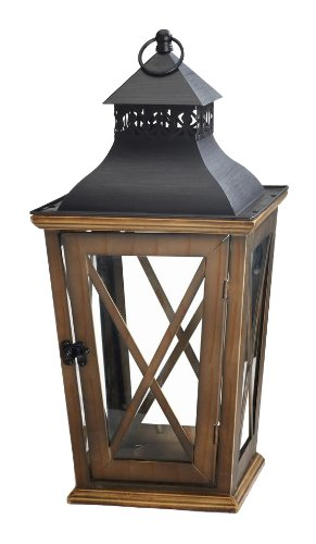 M2CBridge Decoration Wooden Garden Candle Lantern Holder Candleholder with Glass WindowPane (21-Inch)