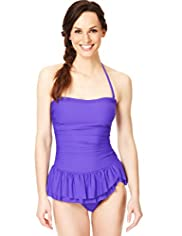 Tummy Control Bandeau Style Ruched Skirt Swimsuit