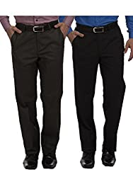 Sangam Apparels Pack of 2 Mens Formal Trousers