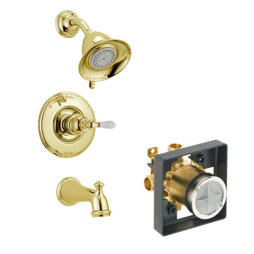 Delta Delta KTSDVI-T14455-H712-PB Victorian Tub/Shower Kit Pressure-Balance Single-Function Cartridge with Porcelain Lever Handle, Polished Brass Polished Brass