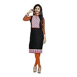 Stylish Girls Women Cotton Printed Unstitched Kurti Fabric (DT207_Black_Free Size)