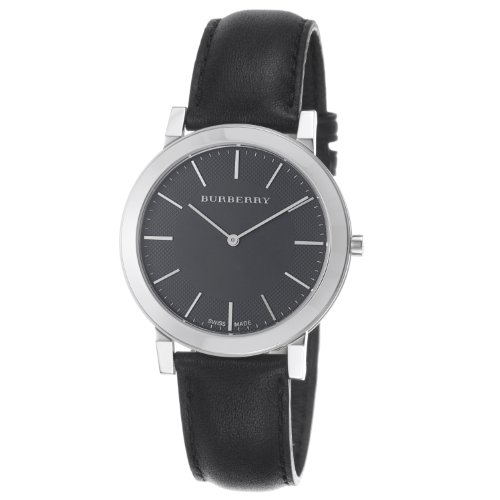 Burberry Men's BU2351 Slim Black Dial Black Leather Strap Quartz Watch