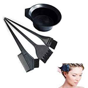 Salon Hair Coloring Dyeing Kit Dye Brush Comb Bowl Tint Tool Kit Black New 4 Pcs