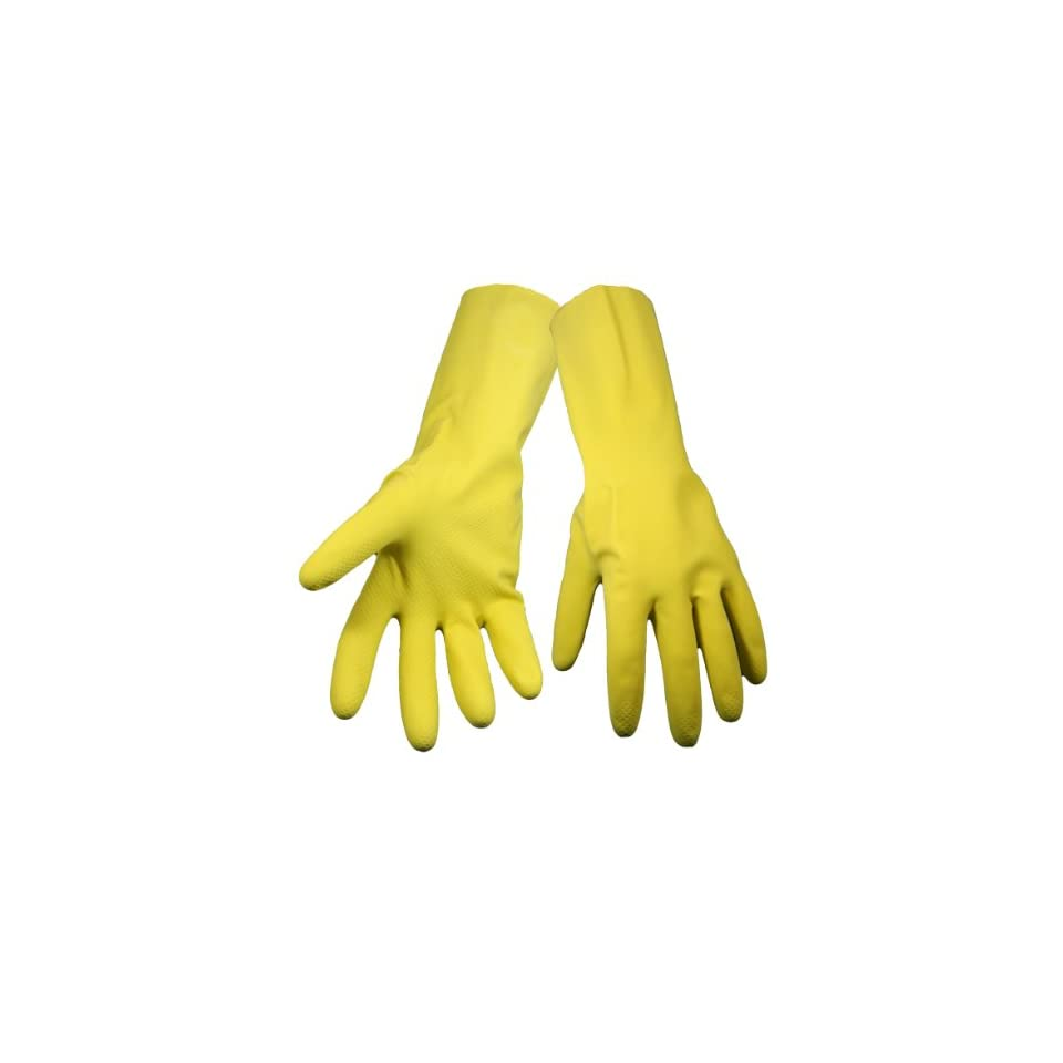 Global Glove 150FE Flock Lined Latex Economy Grade Glove, Chemical Resistant, Extra Large, Yellow (Case of 144)