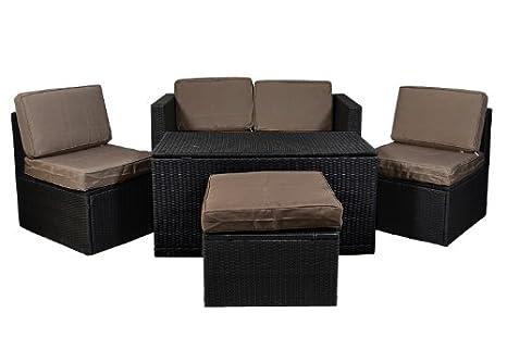Gartenmöbel 6tlg Set Sitzgruppe Poly Rattan Lounge Garten Garnitur Couch ecru