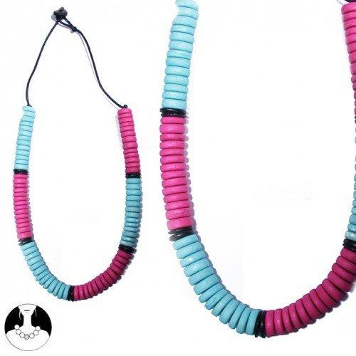 sg paris women necklace long necklace wood 84 cm comb pastel turq and fushia wood