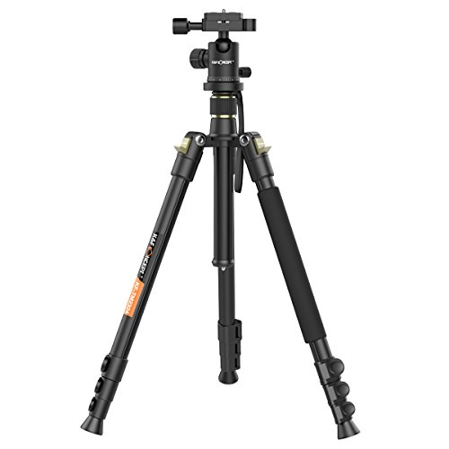 "K&F Concept Camera Tripod Lightweight Magnesium Aluminum Alloy Tripod Kit with 4 Sections + 360 Degree Ball Head + 8KG Load Capacity + 1/4"" Quick Release Plate for DV Digital Camera Panasonic Canon Nikon Sony GoPro Fujifilm Kodak DSLR Cameras 62"" Black TM2324"
