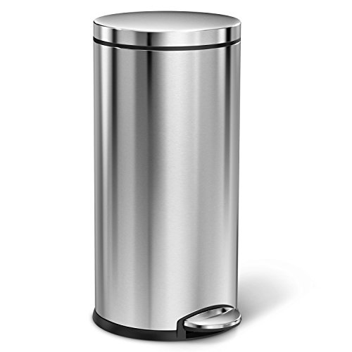 simplehuman Round Step Trash Can, Fingerprint-Proof Brushed Stainless Steel, 35 Liters /9 Gallons (Simplehuman Round Step Trash Can compare prices)