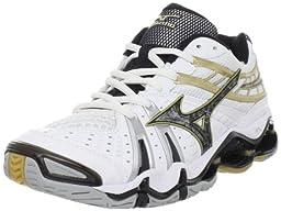 Mizuno Women\'s Wave Tornado 7 Volleyball Shoe,White/Black,6 M US