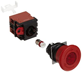 Omron A22EL-M-24A-02 Emergency Stop Operation Unit and Switch, Screw Terminal, IP65 Oil-Resistant, LED Lighted, Push-Lock Turn-Reset Operation, Red, 40mm Diameter, 24 VAC/VDC Rated Voltage, Double Pole Single Throw Normally Closed Contacts