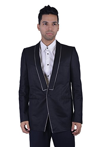 Gianni Versace Black One Button White Trim Men
