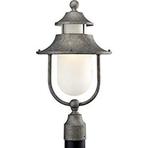 Progress Lighting P5477-50 1-Light Post Mount Lantern with Etched Water Glass, Golden Baroque