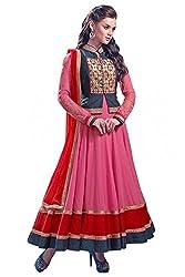 Sanjana Design Anarkali Pink Unstitch embroidered designer Dress Material (SC9565_Free Size_Pink)