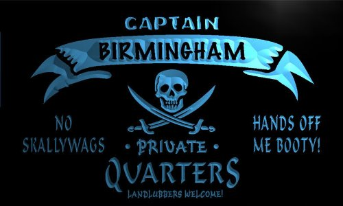Pw2147-B Birmingham Captain Private Quarters Skull Bar Beer Neon Light Sign