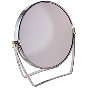 Fmg Round Chrome Free Standing Mirror Folding Stand 5x Magnifying Makeup Or Shaving