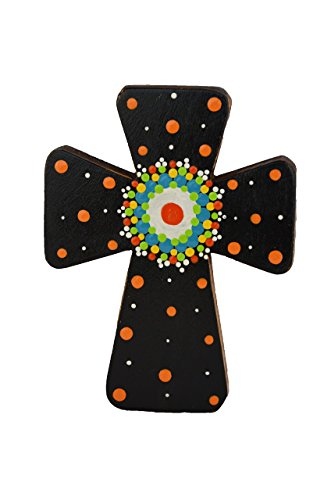 Costa Rican hand painted wall cross (Small - Black)