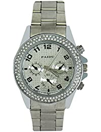 LegendDeal Paidu Silver Strap Analog Watch With Crystal Studed On Bezzle Proffesional Watch - For Men, Boys
