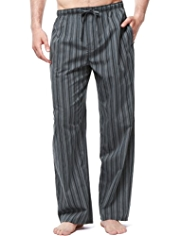 2in Longer Pure Cotton Striped Pyjama Bottoms
