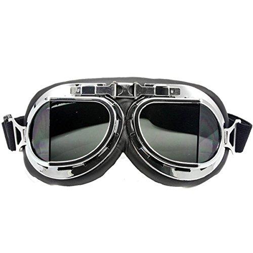 Eforstore Motorcycle Googles Raf Aviator Vintage Pilot Biker Cruiser Pilot Flying Goggles Motocross Cruisers Windproof Sun UV Wind Eye Protect Helmet Mask Eyewear Sports Protective Safety Glasses