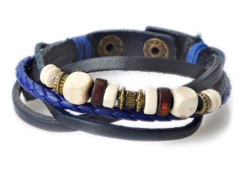 Imixlot Women's and Men's Ethnic Wind Style Retro Dark Blue Leather with Wood Beads Wrap Around Strap Wristband Bracelet Cuff Bracelet for Unisex
