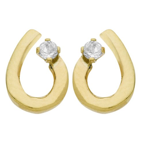 So Chic Jewels - 9k Yellow Gold - Drop Cubic Zirconia Stud Earrings