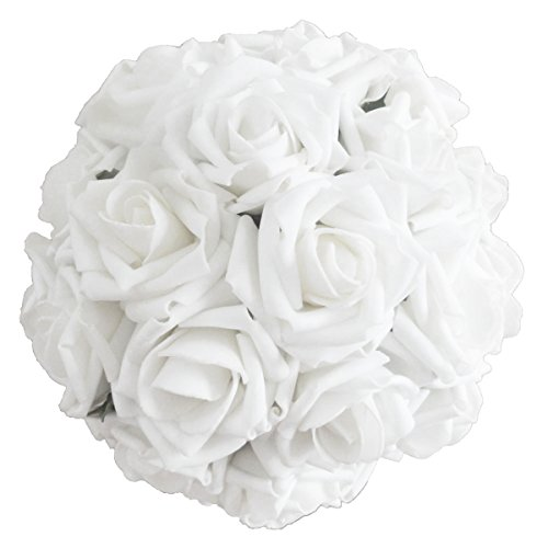 Lily Garden 2 Dozen Rose Bridal Wedding Bouquets Artificial Flower DIY (Pure White)