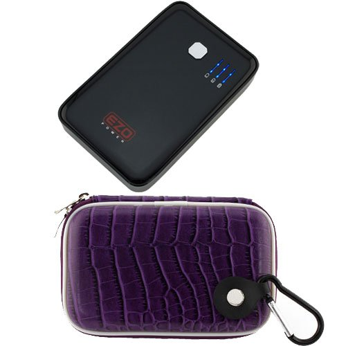 EZOPower 8000mAh Dual USB Port External Rechargable Power Bank Backup Battey Pack with Purple Protective EVA Case for Cellphones, MP3, E-Books, GPS; 7inch Tablet: Apple iPad mini; Google Nexus 7, Samsung Galaxy 2; Nook HD 7; Coby Kyros MID TAB