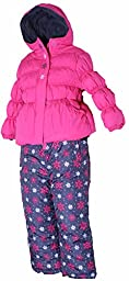 PINK PLATINUM Little Girls\' Toddler Snowflake Puffer & Bib Pants in Pink Glow4T