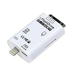 HIOTECH® i-Flash Drive TF SD Card Reader, 30 Pin to 8Pin Flash Drive Card Reader HD with App Adding Extra Storage for iPhone 6/6S/6 Plus, iPhone 5/5c/5s,iPhone 4/4s, iPad 1/2/3/4, iPad Air, iPad Mini/2
