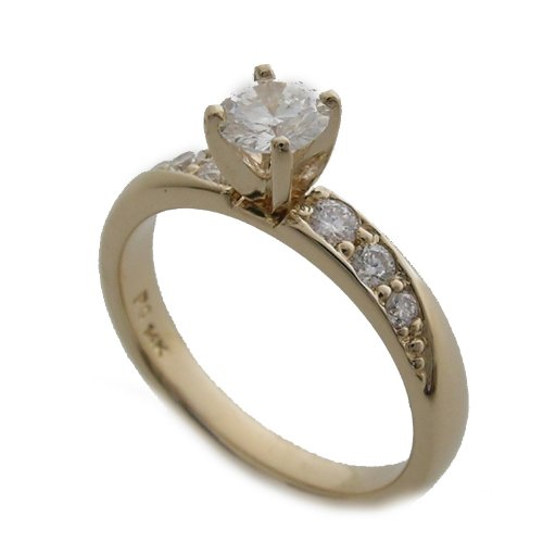 14k Yellow Gold Diamond Engagement Ring Center Diamond 0.43 Ct.