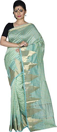 KAAJAL SAREES Women's Banarasi Silk Saree (Green)