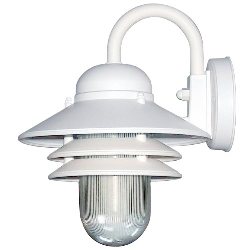 Sunlite 48202-SU DOD/NC/WH/CL/GU24 Decorative Outdoor Energy Saving Nautical Collection Polycarbonate Fixture, White Finish, Clear Lens